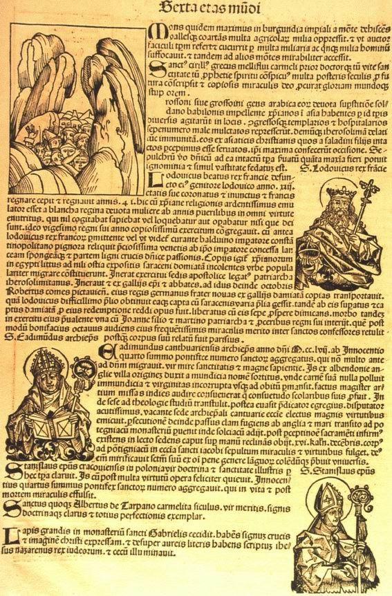 Crónica de Nuremberg.  Documento relacionado con el desastre de la caída del Mont Granier en Myans en 1248. Documento: Museo de Arte e Historia de Chambéry