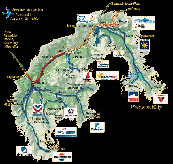 Localisation des villes et stations de Tarentaise