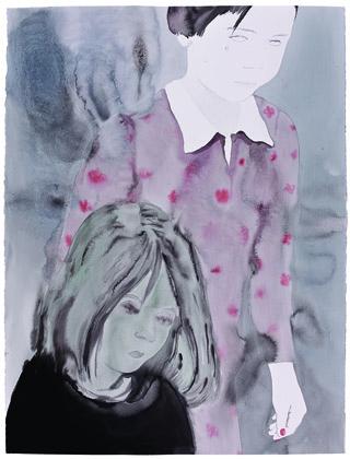 2 sœurs - Sans titre, 2013 - Lavis d'encre sur papier, 160 x 120 cm - Collection de l'artiste