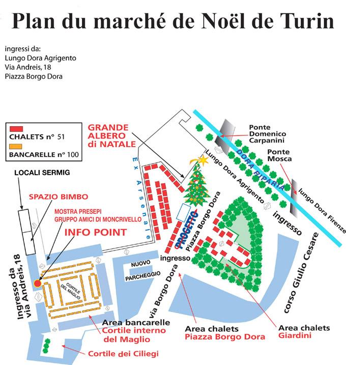 Plan du marché de Noël à Turin