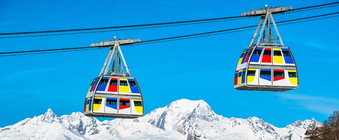 Les deux cabines du téléphérique Vanoise Express - © AndyParant