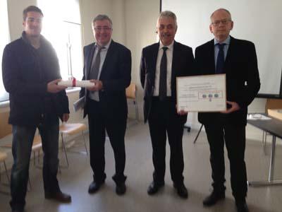 Remise du prix de développement durable à Luc Berthoud et Anthony Perrin par Alain Chabrolle et Serge Nocodie