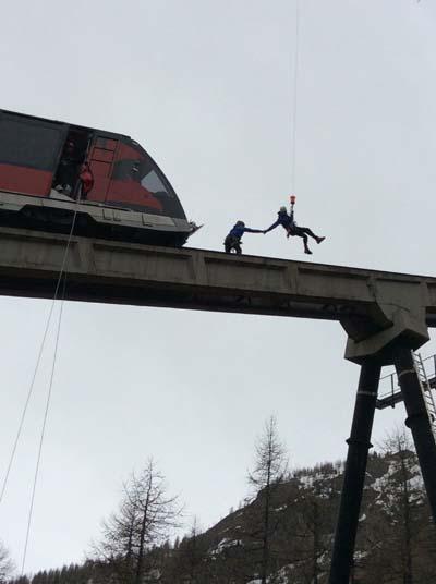 Exercice de Sécurité sur le Funiculaire de Val d'Isère