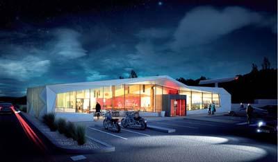La nouvelle station de services totalement reconstruite s'inspire de la montagne avec un design blanc