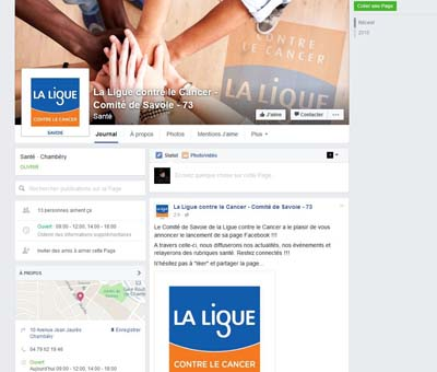 Page Facebook La Ligue contre le Cancer de Savoie