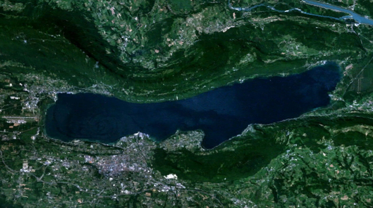Lac du Bourget - rendu 3D satellite (Earth Wind) 1280x715