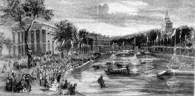 Illuminations du lac à Annecy le 30 août 1860