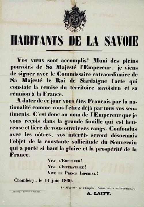Affiche Rattachement de la Savoie à la France
