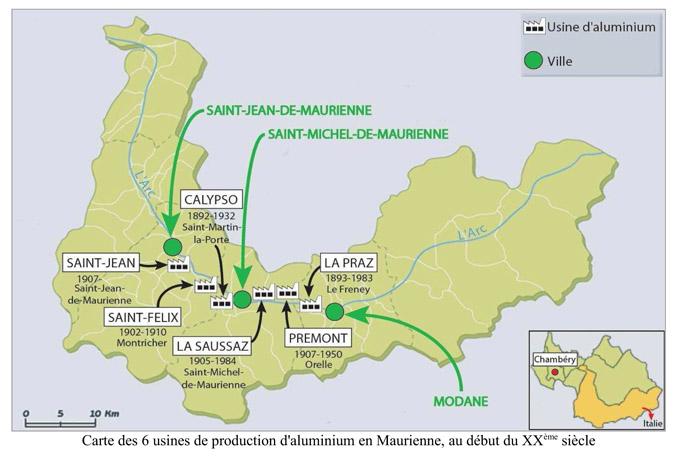 Carte des 6 usines de production en Maurienne au début du XXème siècle