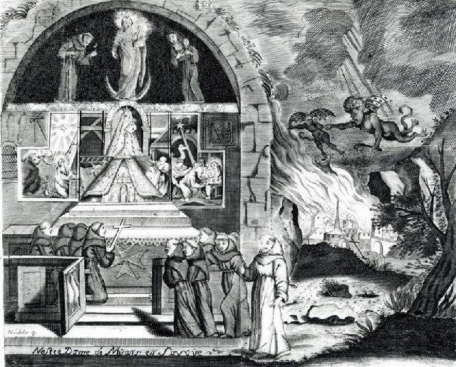 """Lithographie Notre-Dame de Myans """"le feu à la Chartreuse"""", document : Musées d'art et d'histoire de Chambéry"""