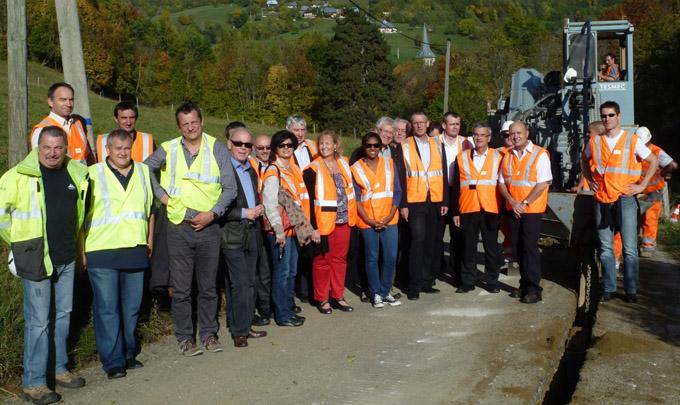 Visite du chantier avec de nombreux élus dont Michel Bouvard © ERDF