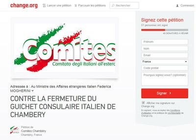 Pétition contre la fermeture du guichet consulaire italien de Chambéry