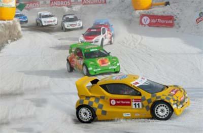 Trophée Andros Electrique ERDF à Val Thorens le 7 décembre 2014 - Adrien Tambay, Val Thorens devant Franck Lagroce, Andros et Louis Gervoson, ALD Automotive