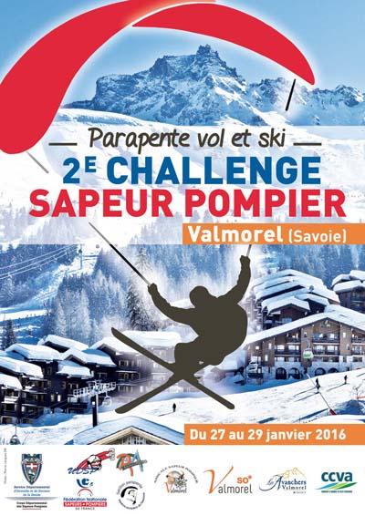 Affiche Challenge National de parapente Vol et Ski des Sapeurs-Pompiers 2016