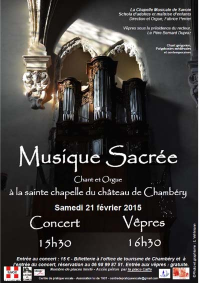 Affiche Musique Sacrée à la Sainte chapelle du château de Chambéry