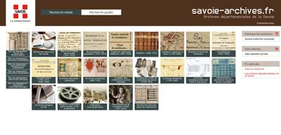 Site Web des Archives départementale de la Savoie