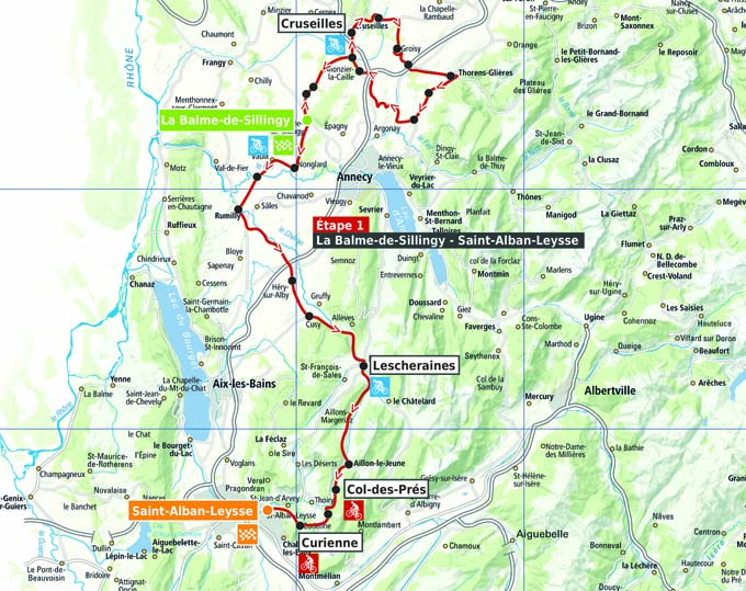 Carte du Tour des Pays de Savoie 2015