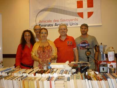 Rosa et Jérôme Personnaz, Sophie et Philippe Tardieu et Laurent Rigaud sur le stand des Savoyards