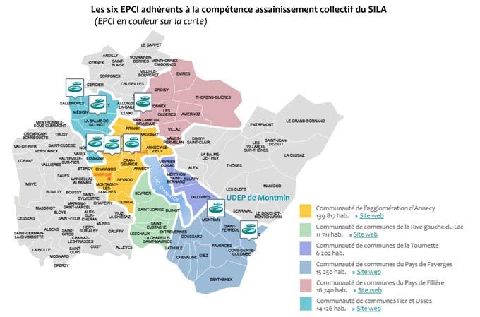 Carte des six EPCI adhérents à la compétence assainissement collectif du SILA