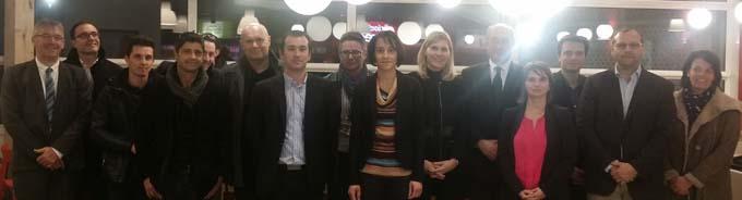 Philippe Redoulez, le directeur général, et les équipes d'ATMB, aux côtés de Virginie Duby Muller, député, de Frédéric Mugnier, maire de Valleiry, et des équipes d'AVIA