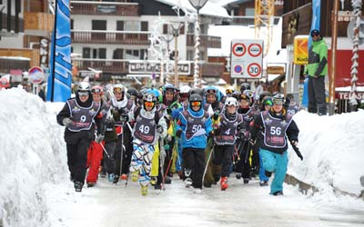 Winter alpine battle aux Gets