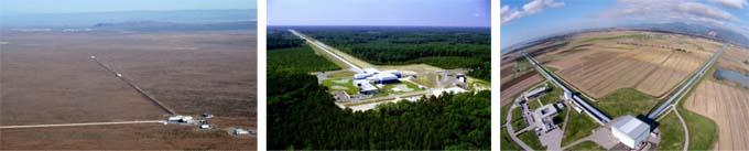 De gauche à droite : les deux détecteurs LIGO (à Hanford et Livingston, États-Unis) et le détecteur Virgo (Cascina, Italie) - © LIGO Laboratory (deux premières photos) et Virgo / Nicola Baldocchi 2015