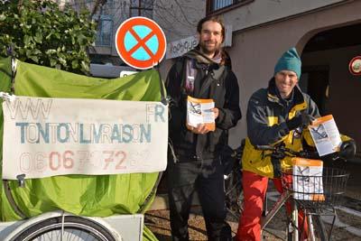 Tonton Livraison est un service de transport à vélo sur Chambéry et environs