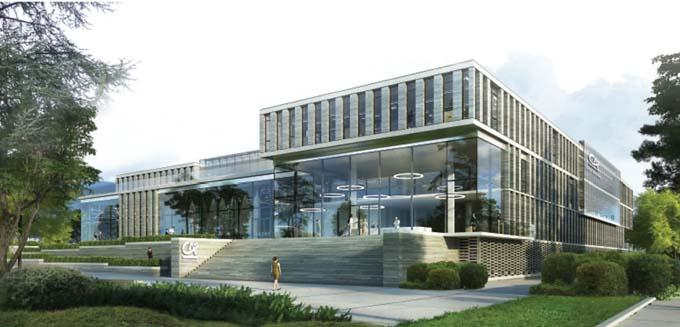 Projet du cabinet Wilmotte pour le site de Chambéry, vue de l'accès principal depuis l'avenue Costa de Beauregard