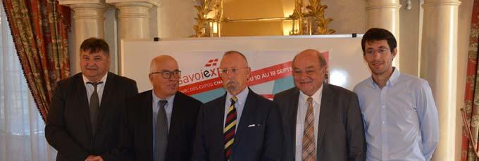 Stéphane Fages, Bernard Sevez, Denis Labé, Claude Giroud et Aloïs Chassot, lors de la conférence de presse - © Sergio Palumbo - 123 Savoie