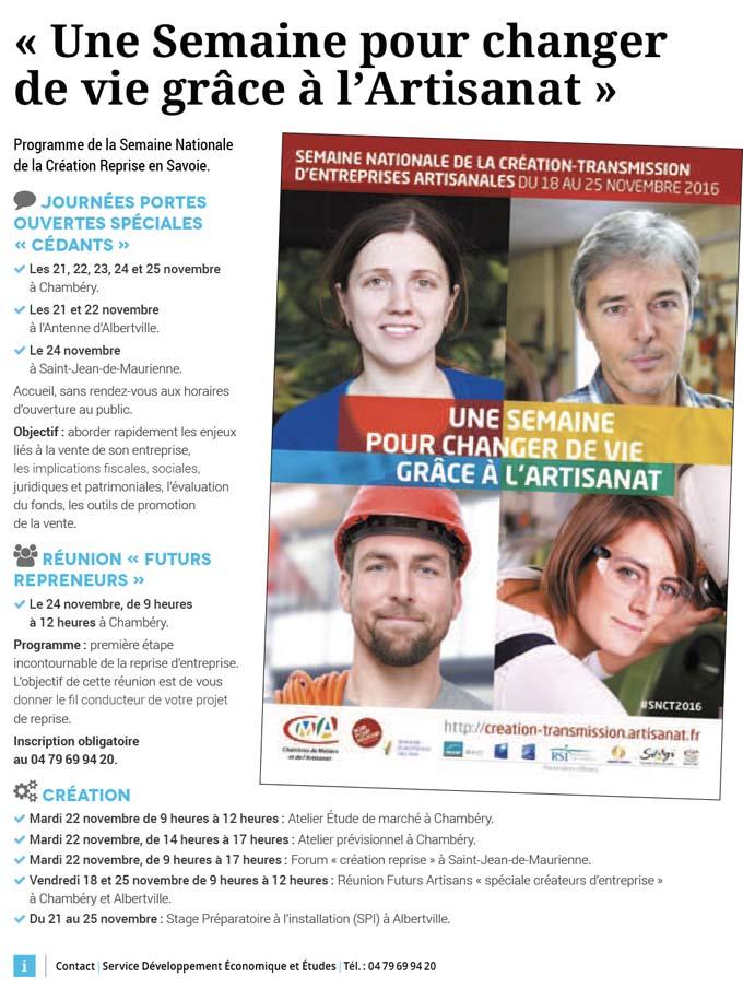 Semaine Nationale de la Création Reprise en Savoie